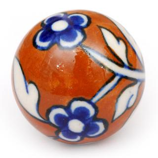 KPS-4644 - Brown Ceramic Cabinet Knob with Blue Flowers and White Leaves