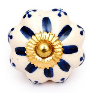 KPS-4659 - Blue Flower Center with Small Blue Flowers on a White Ceramic knobs