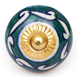 KPS-4623 - Green and White Design on a White Ceramic Cabinet Knob