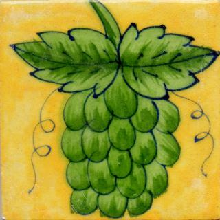 Green Color Grapes Design On Yellow Base Tile