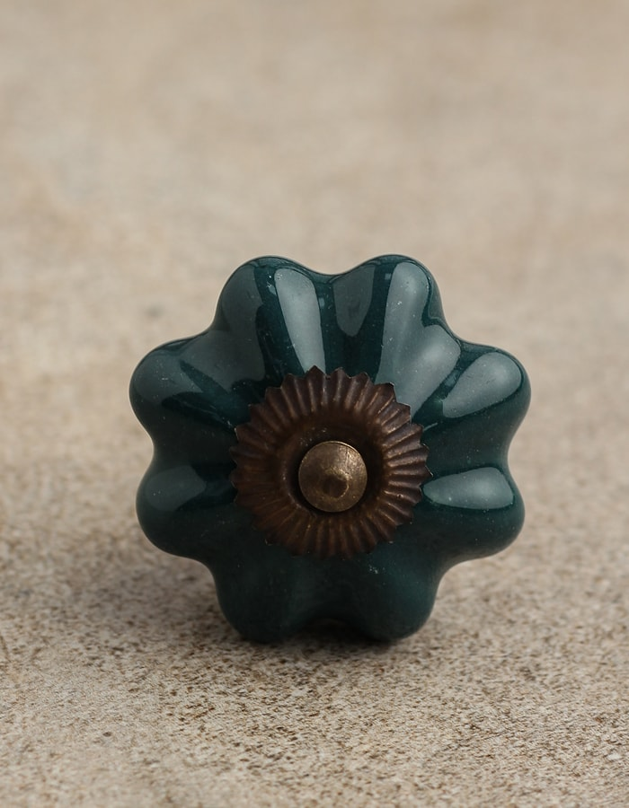 drawer cupboard cabinet door knobs green flower shaped cut glass brass fittings