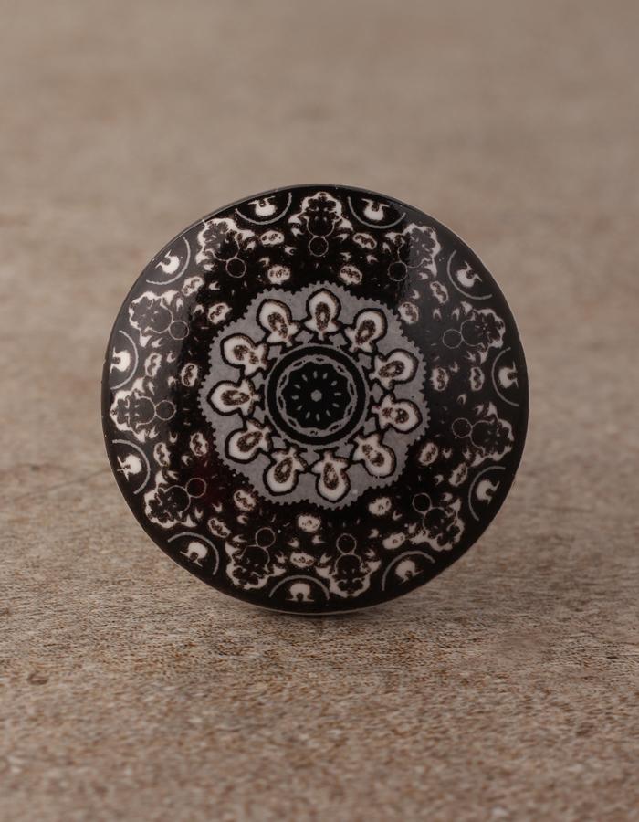 Designer Black Round Ceramic Dresser, Hand Painted Round Cabinet Knobs
