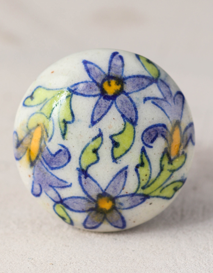 White Cabinet Knob With Purple Flowers, Hand Painted Porcelain Cabinet Knobs