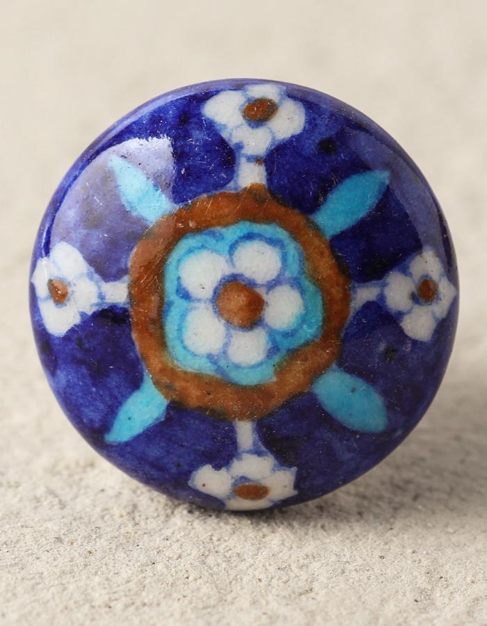 Blue Ceramic Pottery Dresser, Hand Painted Ceramic Cabinet Knobs