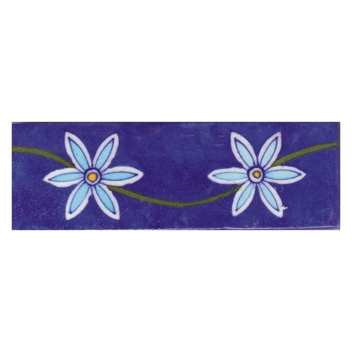 Turquoise And White Flowers And With Blue Base Tile Knobco