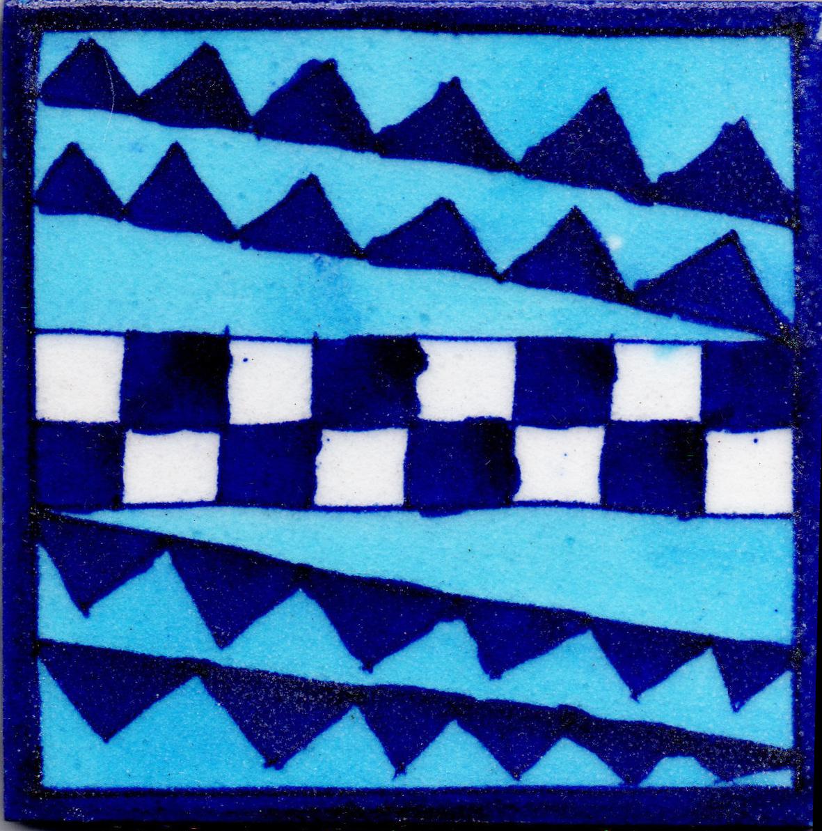 Zig Zag Kitchen: Luxury Kitchen Backsplash Zig Zag Design Blue Pottery Tile