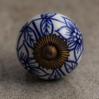 BPCK-001 White Ceramic Cabinet Knob with Blue Flowers