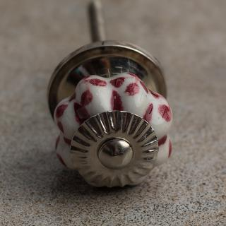 BPCK-002 White and Maroon Flower Shaped Cabinet Knob-Silver