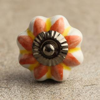 BPCK-016 Yellow and Orange flower Ceramic knob-Antique Silver