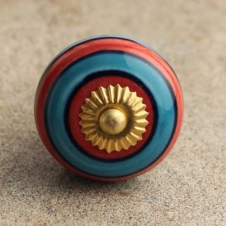 BPCK-017 Striped Ceramic Knob-Brass