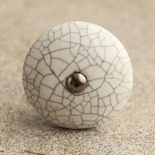 BPCK-022 Cracked White Ceramic Cabinet Antique Silver Knob