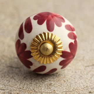 BPCK-024-A Red Flowers Cabinet Knob -Brass
