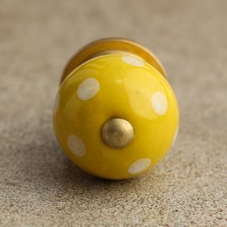 BPCK-028 Yellowish Colored Ceramic Knob with Polka-Dots-Brass