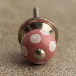 BPCK-030-B Pink Cabinet Knob with Polka-Dots-Silver