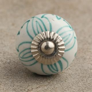 BPCK-035 Turquoise Geometric Design on a Cabinet Knob-Silver