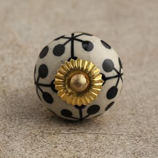 BPCK-037 Black Design on a White Ceramic Knob-Brass