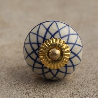 BPCK-038 Blue Geometric on a White Ceramic Knob-Brass