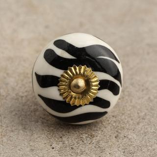 BPCK-050 Black and White Cabinet Knob-Brass