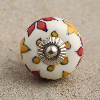BPCK-051 Red and Yellow Flower Cabinet knob-Silver
