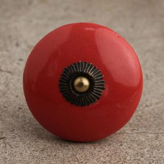 BPCK-086 Red Cabinet Knob-Antique Brass