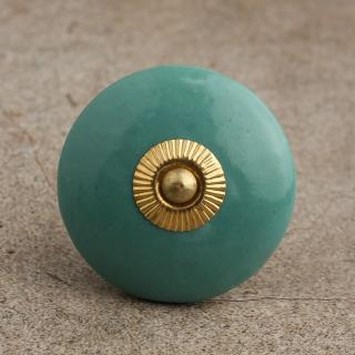 BPCK-092-A Lime Green Cabinet knob-Brass