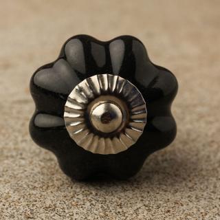 BPCK-094 Black Flower Shaped Cabinet Knob-Silver