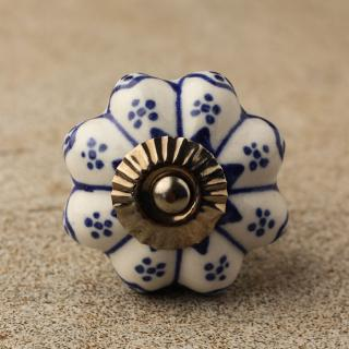 BPCK-097 Blue design with white ceramic knob-Antique Silver