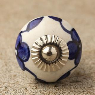 BPCK-101 Blue flower leaf ceramic knob-Silver