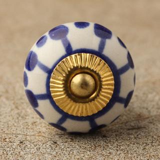 BPCK-103 Blue design with white base ceramic knob-Brass