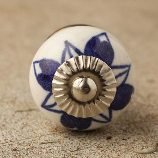 BPCK-104 Blue design ceramic knob-Silver