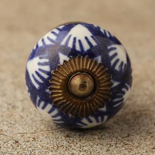 BPCK-106 Blue design with white base ceramic knob-Antique Brass