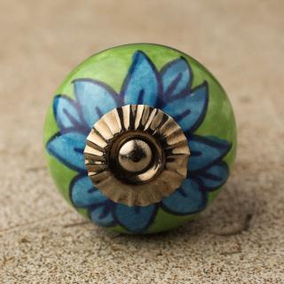 BPCK-112 Turquoise flower with Green base ceramic knob-Antique Silver