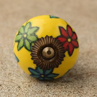 BPCK-113 Red,Green and Turquoise ceramic knob-Antique Brass
