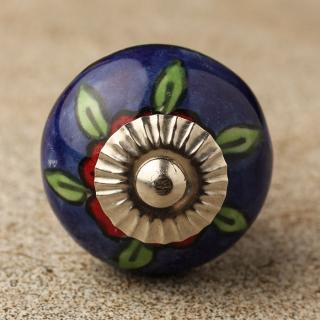 BPCK-115 Red flower ceramic knob-Silver