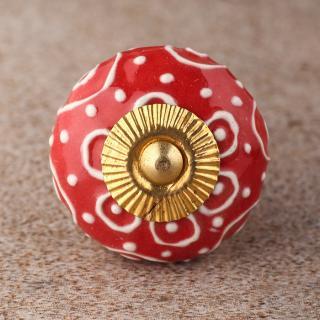 BPCK-123 White design with Red ceramic knob-Brass