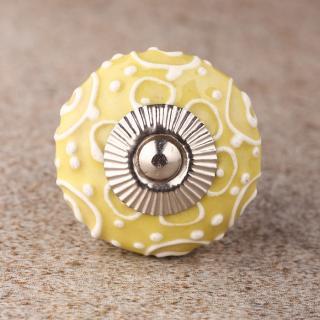 BPCK-124 White design with Yellow ceramic knob-Silver