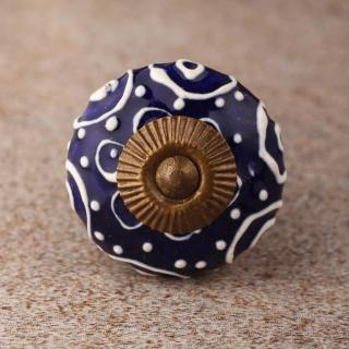 BPCK-129 White design with Blue base ceramic knob-Antique Brass