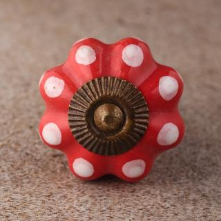 BPCK-134 Dots with Dark Salmon Ceramic knob-Antique Brass