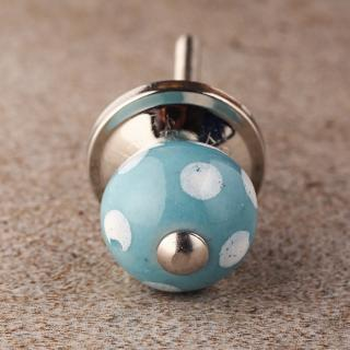 White Dots Ceramic Cabinet Knob