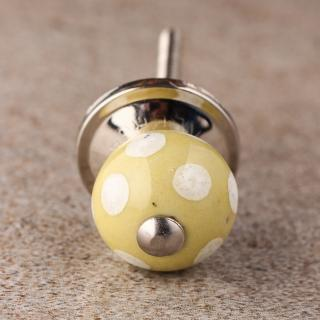 BPCK-138 Lime Yellow with White Dots Polka Cabinet knob-Silver