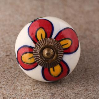 BPCK-155 Coloured Ceramic knob-Antique Brass