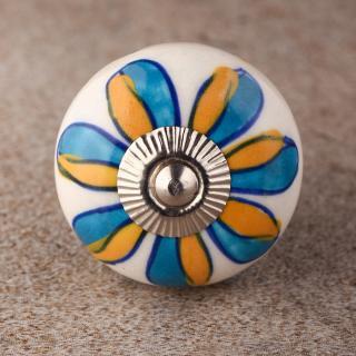 BPCK-156 Turquoise Flowers  Ceramic knob-Silver