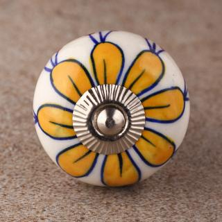 BPCK-161 Yellow Flower with White Base Ceramic knob-Silver
