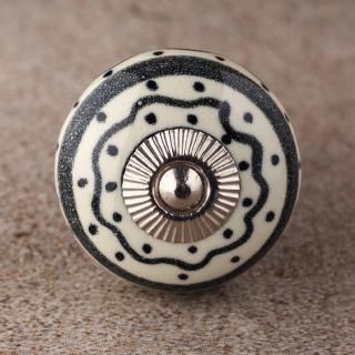 BPCK-162 Black design with White Base Ceramic knob-Silver