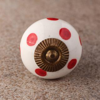 BPCK-163 Polka Design Ceramic knob-Antique Brass