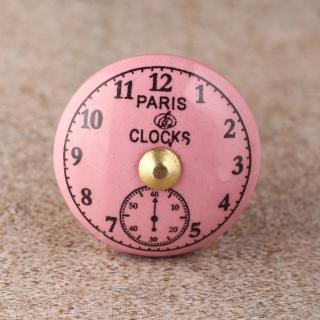 BPCK-168 Pink Clock Ceramic knob-Brass