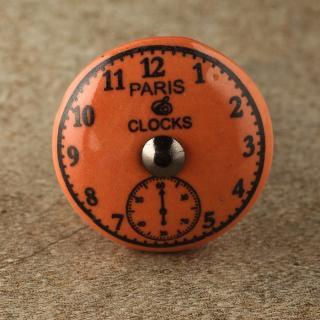 BPCK-173 Black Clock with Orange Ceramic knob-Antique Silver