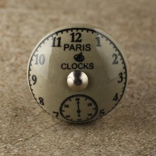 BPCK-174 Clock Light Grey Ceramic knob-Silver
