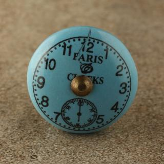 BPCK-175 Black Clock with Turquoise Ceramic Antique Brass knob