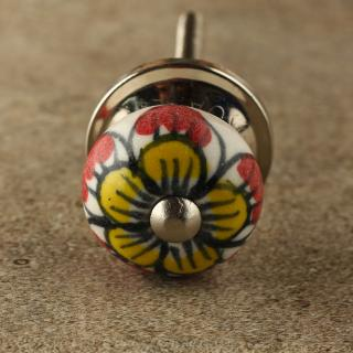 BPCK-180 Red Flower Ceramic knob-Silver